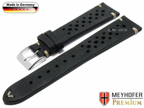 Watch strap -Grafenau- 18mm black leather racing look vintage look light stitching by MEYHOFER (width of buckle 16 mm) - Bild vergrößern