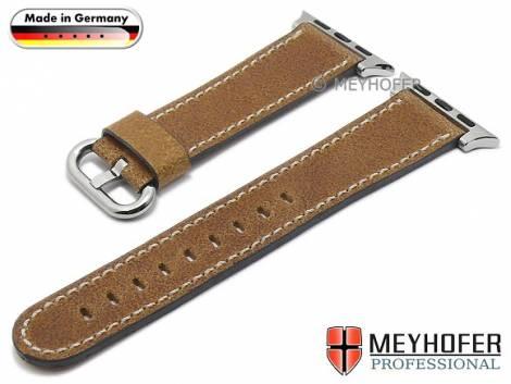 Watch strap -Bebra- 20mm brown leather smooth with APPLE adapter 38 mm by MEYHOFER (width of buckle 18 mm) - Bild vergrößern