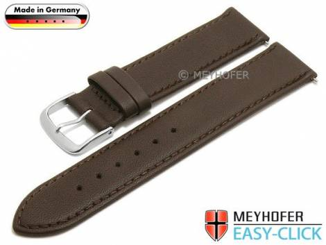 Watch strap Meyhofer EASY-CLICK -Bonn- 20mm dark brown leather stitched (width of buckle 20 mm) - Bild vergrößern