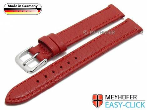 Watch strap Meyhofer EASY-CLICK -Neuss- 12mm red deer leather grained stitched (width of buckle 12 mm) - Bild vergrößern