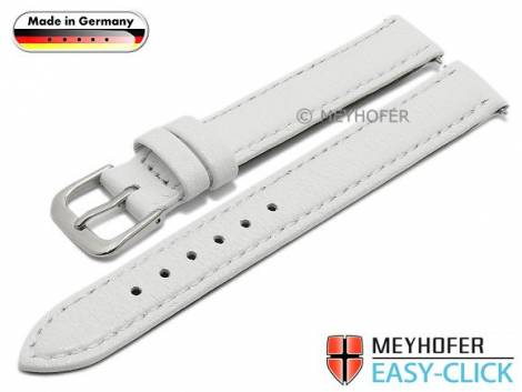 Watch strap Meyhofer EASY-CLICK -Neuss- 12mm white deer leather grained stitched (width of buckle 12 mm) - Bild vergrößern