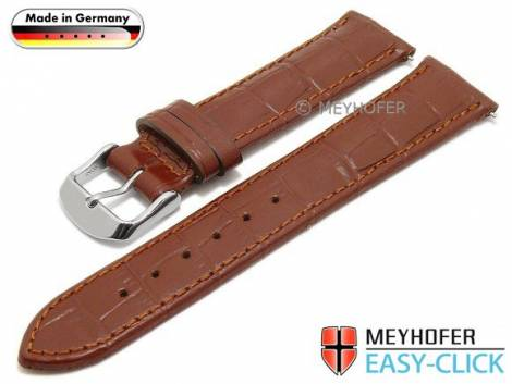 Watch strap Meyhofer EASY-CLICK -Inzell- 22mm brown leather alligator grain stitched (width of buckle 18 mm) - Bild vergrößern