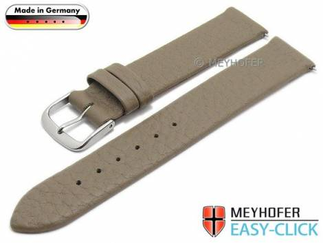Watch strap Meyhofer EASY-CLICK -Furth- 20mm taupe leather grained (width of buckle 20 mm) - Bild vergrößern