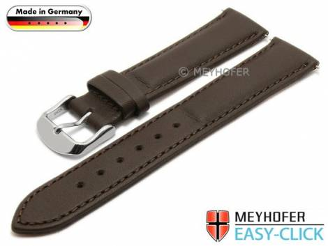 Watch strap Meyhofer EASY-CLICK -Bamberg- 20mm dark brown leather smooth stitched (width of buckle 18 mm) - Bild vergrößern
