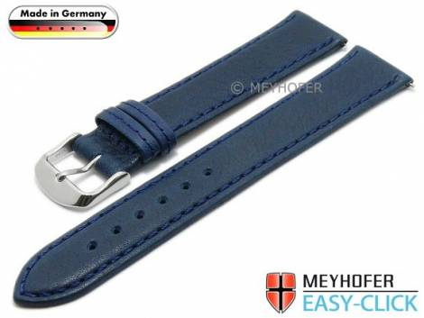 Watch strap Meyhofer EASY-CLICK XL -Scheidt- 20mm dark blue leather grained stitched (width of buckle 18 mm) - Bild vergrößern