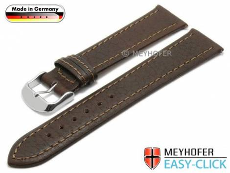 Watch strap Meyhofer EASY-CLICK XL -Breitscheidt- 22mm dark brown leather grained stitched (width of buckle 20 mm) - Bild vergrößern