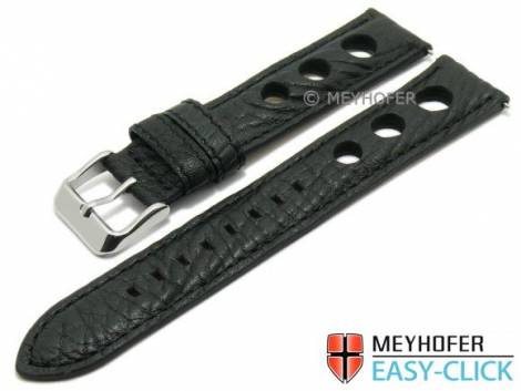 Watch strap Meyhofer EASY-CLICK -Braga- 20mm black leather racing look stitched (width of buckle 18 mm) - Bild vergrößern