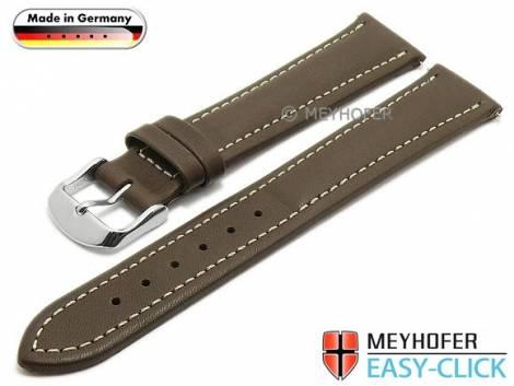 Watch strap Meyhofer EASY-CLICK -Kelheim- 22mm dark brown leather smooth light stitching (width of buckle 20 mm) - Bild vergrößern