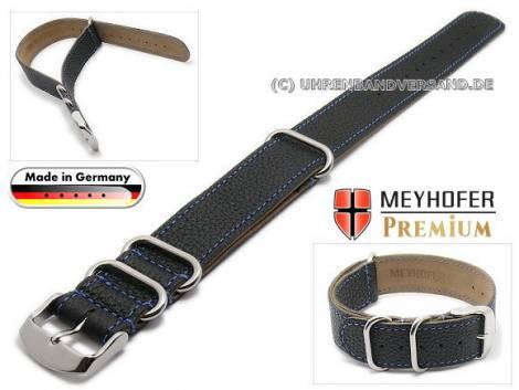 Watch strap -Piacenza NATO Special- 20mm black leather grained blue stitching by MEYHOFER - Bild vergrößern