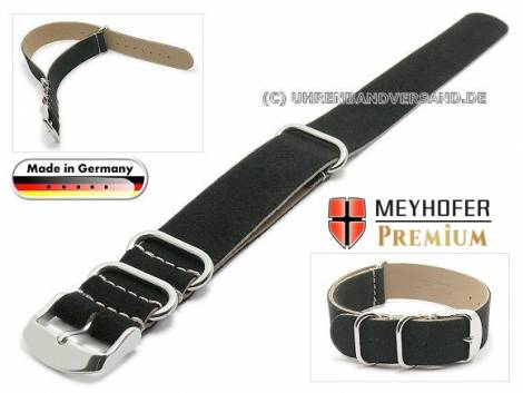 Watch strap -Matera NATO- 20mm black leather velvety (velour) by MEYHOFER - Bild vergrößern