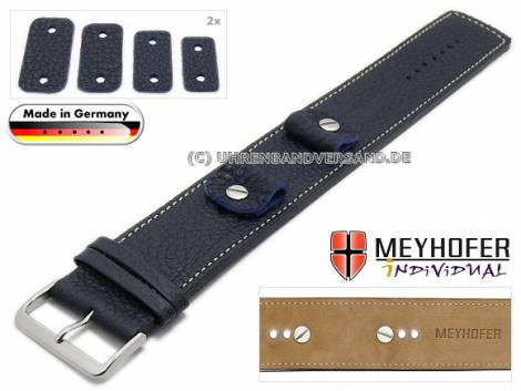 Watch strap -Kassel Classic- 14-16-18-20mm multiple ends dark blue leather grained light stitching leather pad MEYHOFER - Bild vergrößern