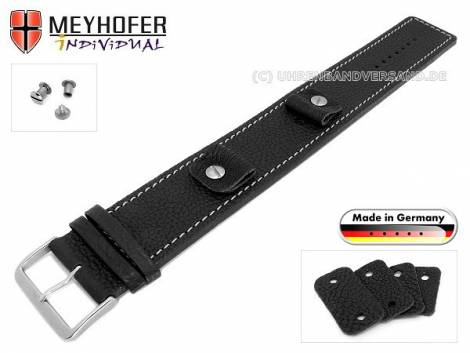 Watch strap -Kassel Classic- 14-16-18-20mm multiple ends black leather grained light stitching with leather pad MEYHOFER - Bild vergrößern