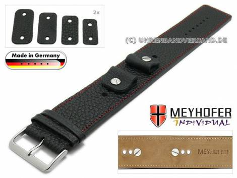 Watch strap -Kassel- 14-16-18-20mm multiple ends black leather grained red stitching with leather pad by MEYHOFER - Bild vergrößern