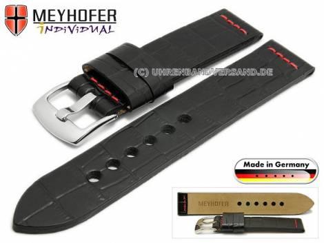 Watch strap -Kendall Special- 22mm black leather alligator grain red stitching by MEYHOFER (width of buckle 22 mm) - Bild vergrößern
