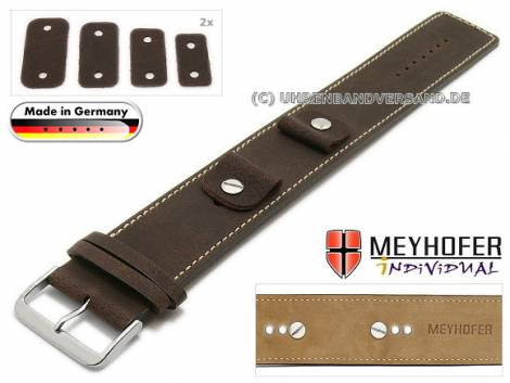 Watch strap -Gotha- 14-16-18-20mm multiple ends dark brown leather antique look light stitching leather pad MEYHOFER - Bild vergrößern
