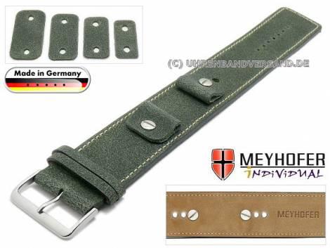 Watch strap -Gotha- 14-16-18-20mm multiple ends dark green leather antique look light stitching leather pad MEYHOFER - Bild vergrößern