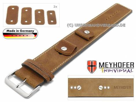Watch strap -Gotha- 14-16-18-20mm multiple ends light brown leather antique look light stitching leather pad MEYHOFER - Bild vergrößern