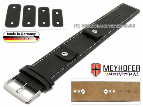 Watch strap -Gotha- 14-16-18-20mm multiple ends black leather antique look light stitching leather pad MEYHOFER - Bild vergrößern