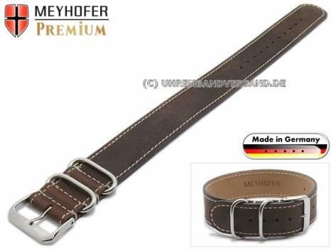 Watch strap -Arnsberg- 22mm dark brown leather vintage look light stitching by MEYHOFER - Bild vergrößern