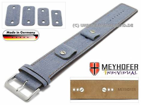 Watch strap -Eisenach- 14-16-18-20mm multiple ends blue textile/leather jeans look brown stitching leather pad MEYHOFER - Bild vergrößern