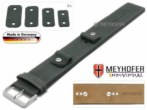 Watch strap -Magdeburg- 14-16-18-20mm multiple ends dark grey leather antique look stitched leather pad MEYHOFER - Bild vergrößern