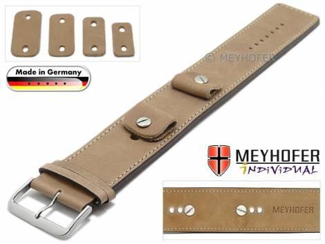 Watch strap -Magdeburg- 14-16-18-20mm multiple ends beige leather antique look stitched leather pad MEYHOFER - Bild vergrößern