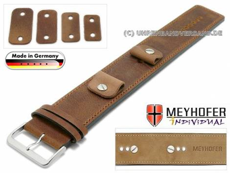 Watch strap -Magdeburg- 14-16-18-20mm multiple ends brown leather antique look stitched leather pad MEYHOFER - Bild vergrößern