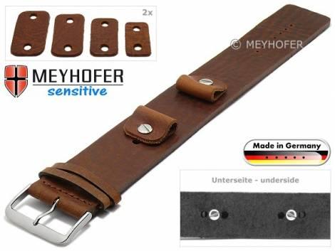 Watch strap -Starnberg- 14-16-18-20mm multiple ends brown leather antique look vegetable tanned leather pad MEYHOFER - Bild vergrößern