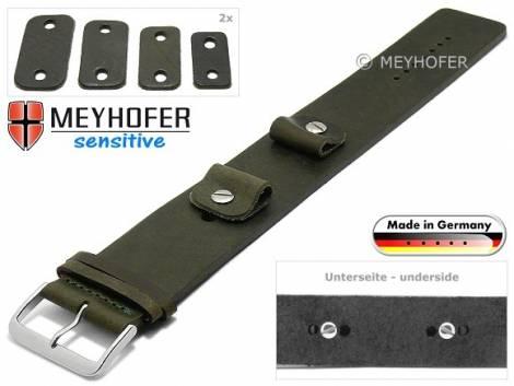 Watch strap -Starnberg- 14-16-18-20mm multiple ends dark green antique look vegetable tanned leather pad MEYHOFER - Bild vergrößern
