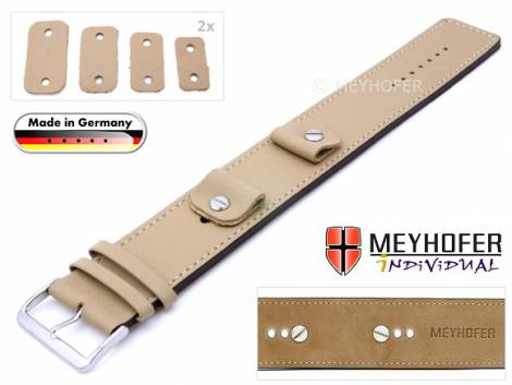 Watch strap -Arnbruck- 14-16-18-20mm multiple ends beige leather smooth stitched with leather pad by MEYHOFER - Bild vergrößern