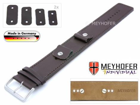 Watch strap -Arnbruck- 14-16-18-20mm multiple ends dark brown leather smooth stitched with leather pad by MEYHOFER - Bild vergrößern