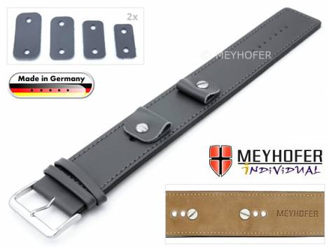 Watch strap -Arnbruck- 14-16-18-20mm multiple ends dark grey leather smooth stitched with leather pad by MEYHOFER - Bild vergrößern
