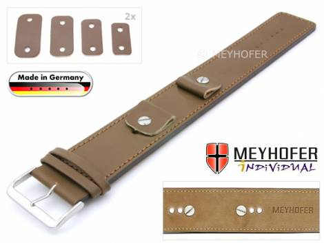 Watch strap -Arnbruck- 14-16-18-20mm multiple ends brown leather smooth stitched with leather pad by MEYHOFER - Bild vergrößern