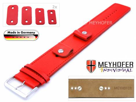 Watch strap -Arnbruck- 14-16-18-20mm multiple ends red leather smooth stitched with leather pad by MEYHOFER - Bild vergrößern