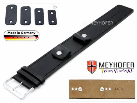 Watch strap -Arnbruck- 14-16-18-20mm multiple ends black leather smooth stitched with leather pad by MEYHOFER - Bild vergrößern