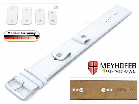 Watch strap -Arnbruck- 14-16-18-20mm multiple ends white leather smooth stitched with leather pad by MEYHOFER - Bild vergrößern