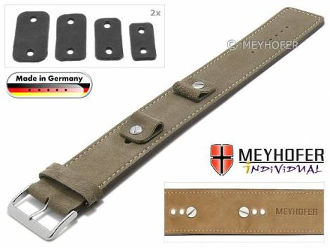 Watch strap -Edlingen- 14-16-18-20mm multiple ends beige leather suede like light stitching leather pad MEYHOFER - Bild vergrößern