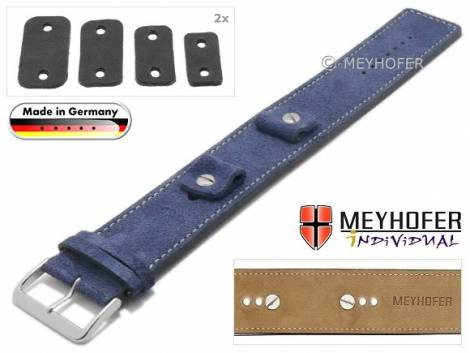 Watch strap -Edlingen- 14-16-18-20mm multiple ends dark blue leather suede like light stitching leather pad MEYHOFER - Bild vergrößern
