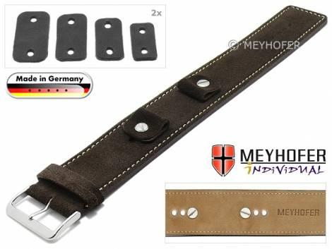 Watch strap -Edlingen- 14-16-18-20mm multiple ends dark brown leather suede like light stitching leather pad MEYHOFER - Bild vergrößern