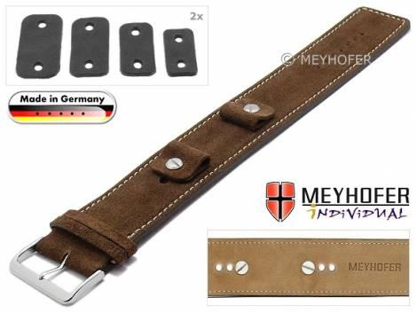 Watch strap -Edlingen- 14-16-18-20mm multiple ends brown leather suede like light stitching leather pad MEYHOFER - Bild vergrößern