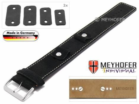 Watch strap -Edlingen- 14-16-18-20mm multiple ends black leather suede like light stitching leather pad MEYHOFER - Bild vergrößern