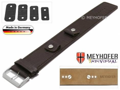 Watch strap -Leinburg- 14-16-18-20mm multiple ends dark brown leather alligator grain leather pad MEYHOFER - Bild vergrößern