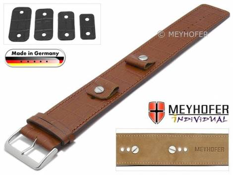 Watch strap -Leinburg- 14-16-18-20mm multiple ends brown leather alligator grain leather pad MEYHOFER - Bild vergrößern