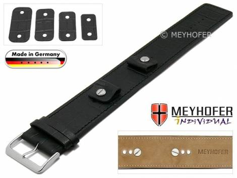 Watch strap -Leinburg- 14-16-18-20mm multiple ends black leather alligator grain leather pad MEYHOFER - Bild vergrößern