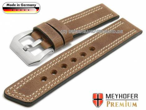 Watch strap -Bilbao- 24mm brown leather vintage look light double stitching by MEYHOFER (width of buckle 24 mm) - Bild vergrößern