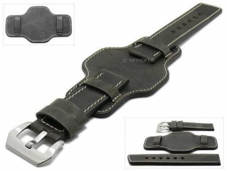Watch strap -Granada- 24mm dark grey leather antique look asymmetric leather pad by MEYHOFER (width of buckle 24 mm) - Bild vergrößern