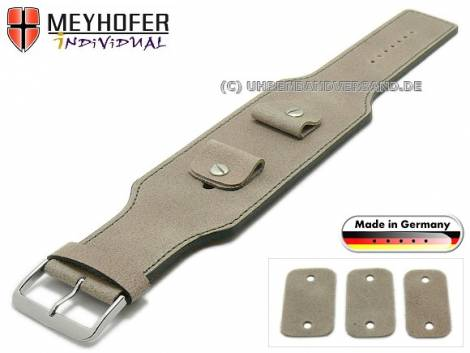 Watch strap -Windhoek- 20-22-24mm multiple ends beige leather antique look grey stitching leather pad MEYHOFER - Bild vergrößern