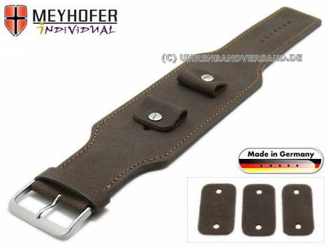 Watch strap -Windhoek- 20-22-24mm multiple ends dark brown leather antique look brown stitching leather pad MEYHOFER - Bild vergrößern