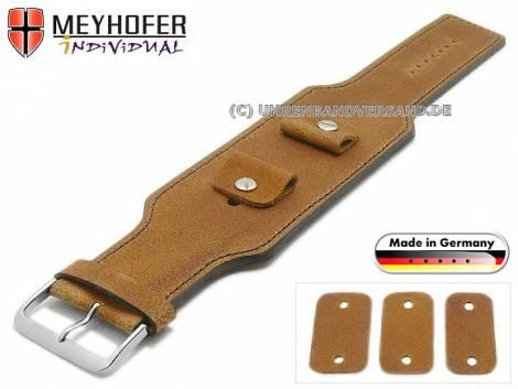 Watch strap -Windhoek- 20-22-24mm multiple ends light brown leather antique look d. brown stitched leather pad MEYHOFER - Bild vergrößern