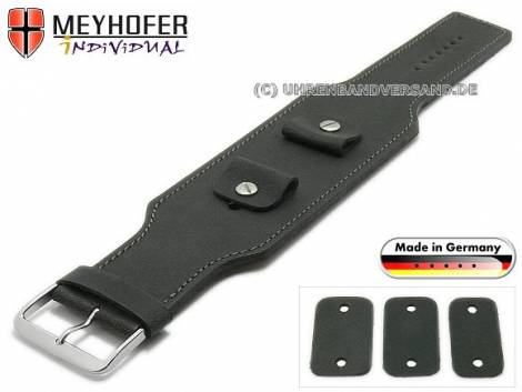 Watch strap -Windhoek- 20-22-24mm multiple ends black leather antique look grey stitching leather pad MEYHOFER - Bild vergrößern